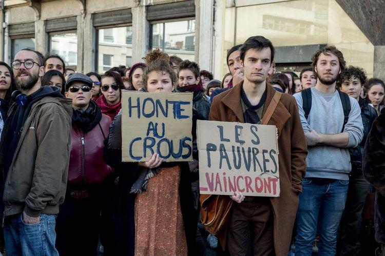 12 novembre 2019, Lyon.Manifestation contre la précarité étudiante après qu'un étudiant de 22 ans se soit immolé le 8 novembre.
